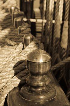 Blocks and rigging at the old sailboat, close-up