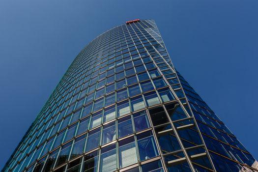 BERLIN - AUGUST 24: Glass Tower at Potsdamer Platz on August 24,