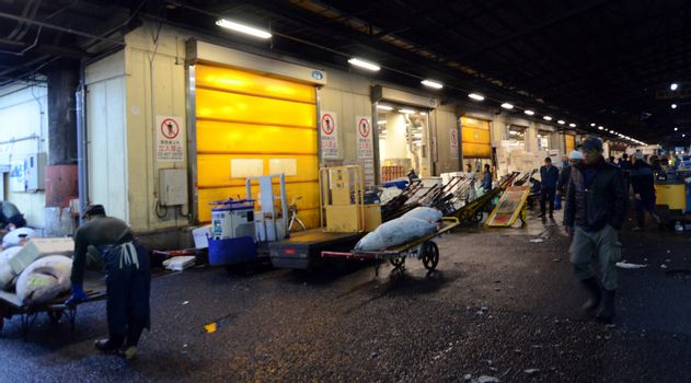 TOKYO - NOV 26: Shoppers visit Tsukiji Fish Market on November 2