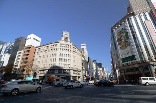 GINZA, JAPAN - NOV 26 : Ginza crossroad taken on November 6, 2013