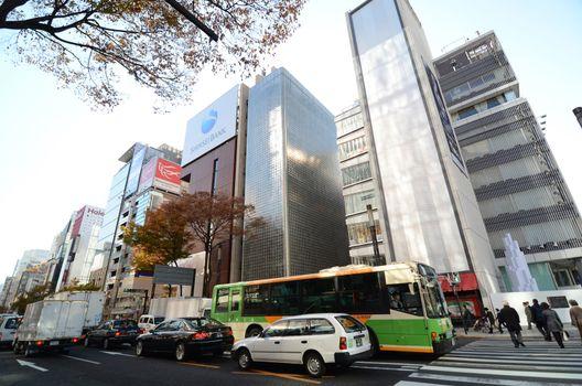 GINZA, JAPAN - NOV 26 : Ginza crossroad taken on November 26, 20