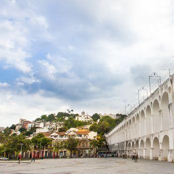Carioca Aqueduct in Lapa  neighborhood, Rio de Janeiro, Brasil.