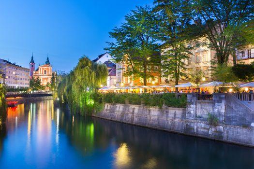 Romantic medieval Ljubljana, Slovenia.