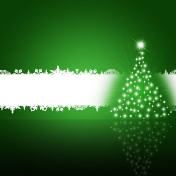 Christmas tree from white snowflakes on green background