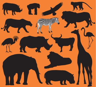 African animals silhouettes set. Vector illustration. EPS 10