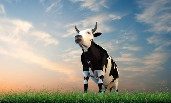 cow walking on green grass