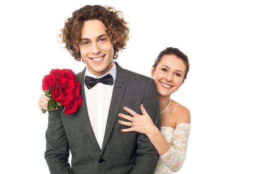 Studio shot of a newlywed couple