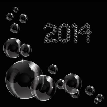 Abstract 2014 bubbles vector illustration