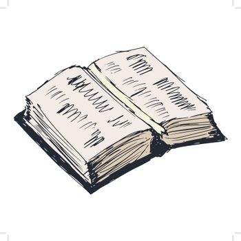 hand drawn, cartoon, sketch illustration of open book
