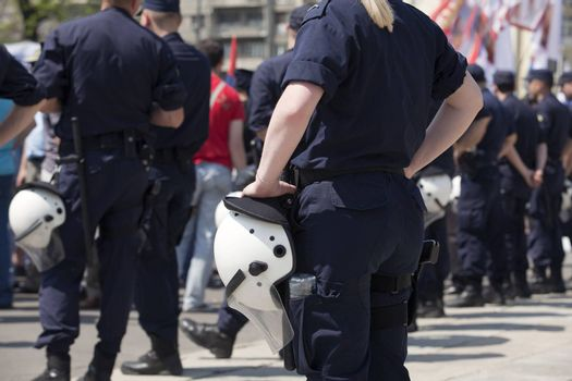 Police on duty during a street protest