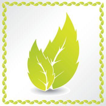 Ecological background with leaf frame