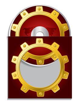 Cogwheel and map cd sleeve