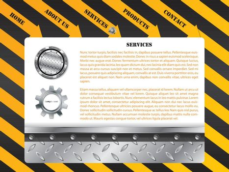 Construction web template design with industrial elements