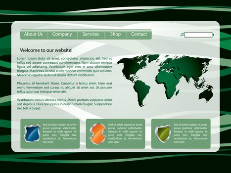Green lined web template design with world map