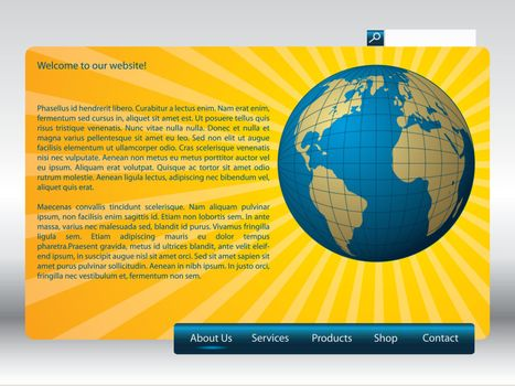 Sunshine effect on simple website template design with globe