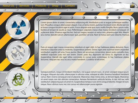 Biohazard construction web template with industrial elements
