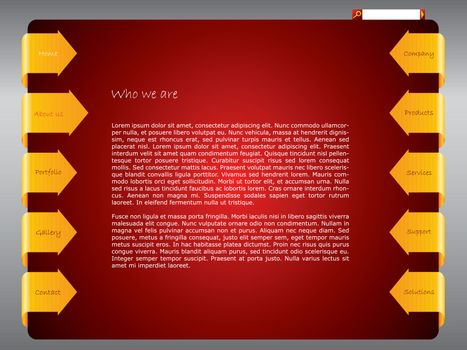 Red website template design with ribbon arrows