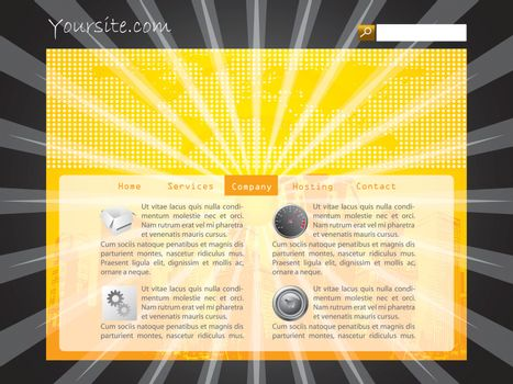Burst web template design with black background