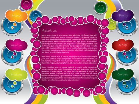 Groovy web template with speakers and bubbles
