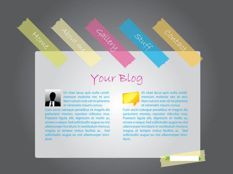 Website template with color tapes