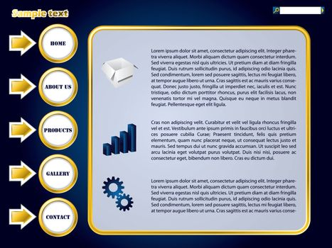 Blue web template design with golden rings and arrows