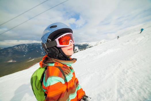 Girl on skis