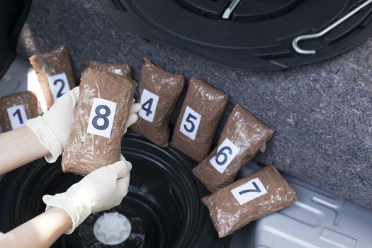 Drug smuggled in a car trunk