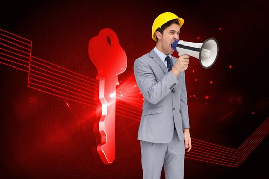 Composite image of young architect yelling with a megaphone