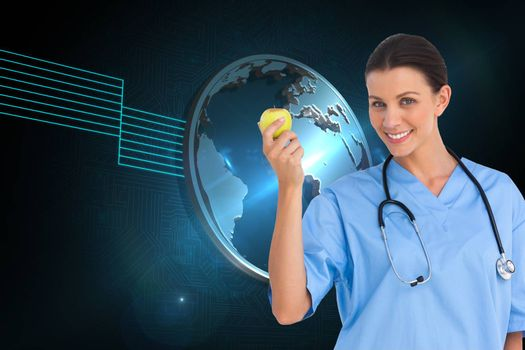 Composite image of happy surgeon holding an apple and smiling at camera