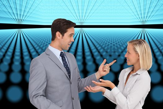 Composite image of business people meet each other