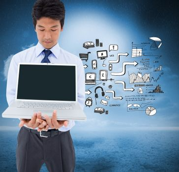 Composite image of portrait of a young businessman showing a laptop