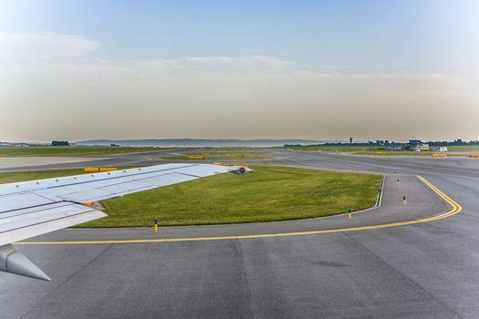 aircraft heading to runway