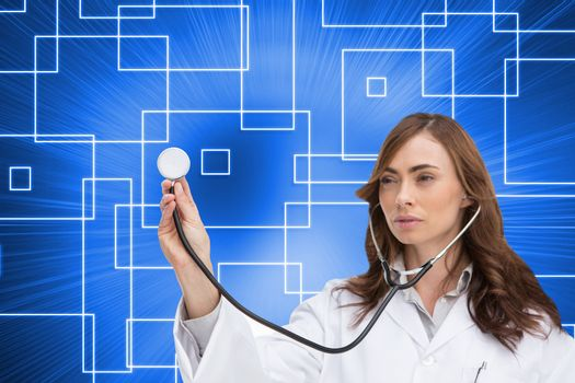 Composite image of thoughtful brunette doctor using stethoscope