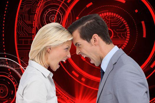 Composite image of colleagues quarreling head against head