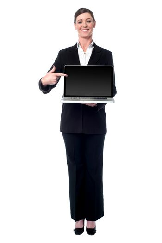 Businesswoman presenting new laptop
