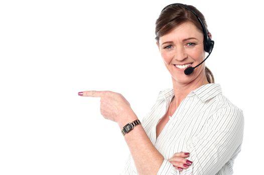 Attractive female customer support staff
