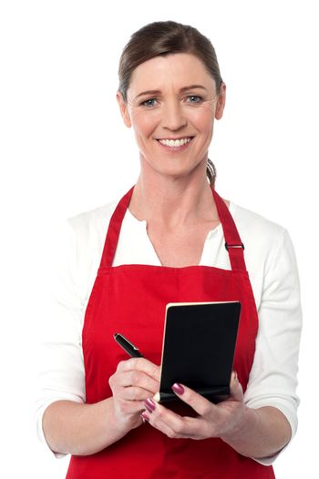 Attractive waitress taking order