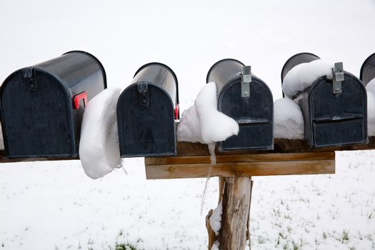 Nevada USA mailboxes in a row with snow and ice
