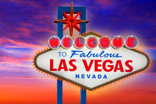 Welcome to Fabulous Las Vegas sign sunset sky