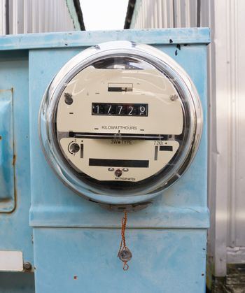 Glass Dome Watt Hour Electric Utility Meters Dock Outside