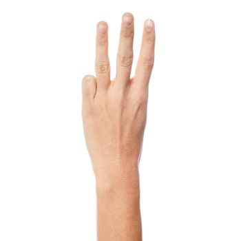 Woman hand showing three count