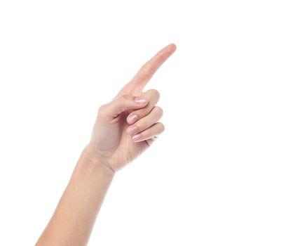 Human hand pointing at something