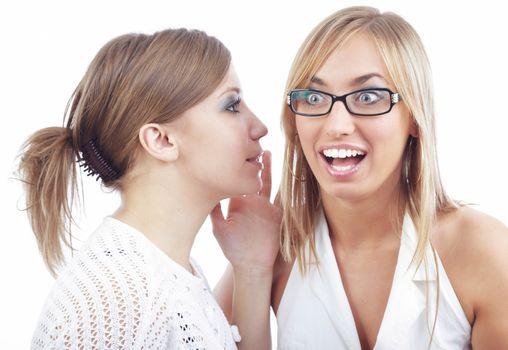 Two friends talking something secret