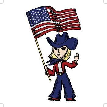 hand drawn, sketch, cartoon illustration of a cowgirl with American flag