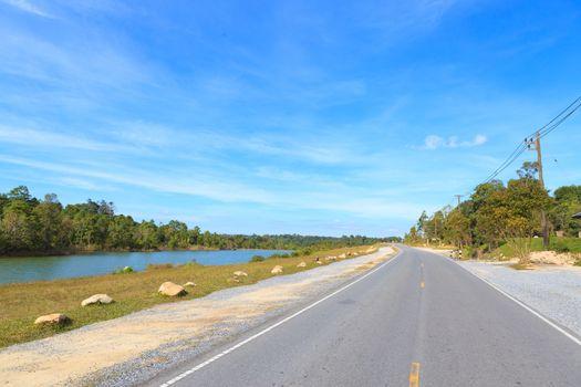 Road beside the lake