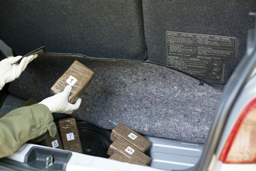 Drug packages in the trunk of a car