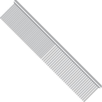 Steel comb for pets with different spacing between the teeth. Vector illustration.