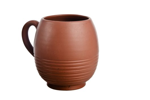 Clay jug, it is isolated on white
