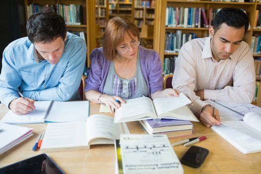 Adult students studying together in the library