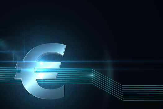 Euro sign on technical background